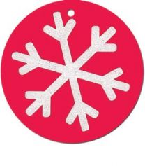 Pack of 4 Glitter Snowflake White on Red Tag (unit of 12 packs)