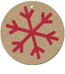 Glitter Snowflake Red on Kraft Gift Tag - Pack of 4