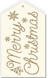 Glitter Merry Christmas Script Gold/Alabaster Gift Tag - Pack of 4