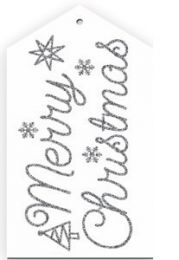Glitter Merry Christmas Script Silver/White Gift Tag - Pack of 4