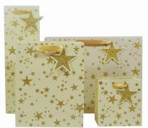 Glitter Scatter Star Gold on Alabaster (select size)
