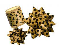 Mock Kraft Effect Black Dots Gift Bow / Ribbon Spool