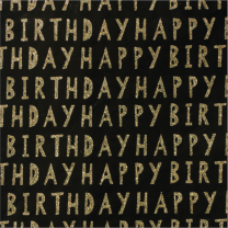 Glitter Deco Cut Out Birthday Gold on Black