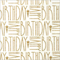 Glitter Flatwrap Deco Happy Birthday Gold on Alabaster