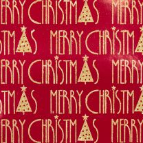 Brocade Merry Christmas Gold on Red Foil