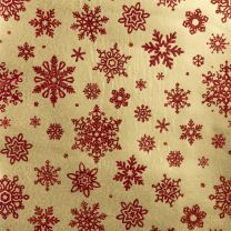 Brocade Delicate Snowflake Red on Gold