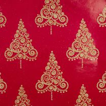 Brocade Ornate Tree Gold on Red Foil