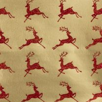 Brocade Leaping Reindeer Red on Gold