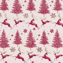 Winter Forest Reindeer Sand/Cranberry on Alabaster