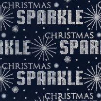 Christmas Sparkle Sparkle Text Silver on Navy