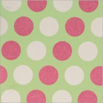 Glitter Modernity Pastel Spot Iri Pink On Wht & Lime