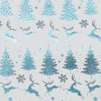 Finlandia Reindeer Silver/Ice Blue on White