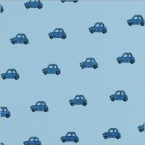 Glitter Ditsy Mini Car Denim Blue On Blue