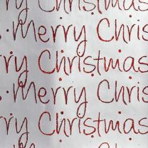 Christmassy Merry Christmas Script Red on Silver