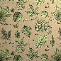 Printed Kraft Botanical Leaves Green