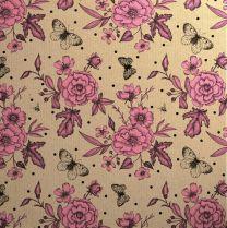 Printed Kraft Botanical Rose Pink