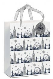 Glitter Gift Bag Christmas Sparkle Medium (Unit of 6)