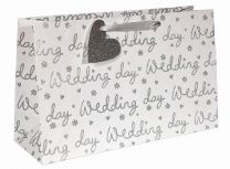 Glitter Wedding Day Silver on White Large (pack of 6)