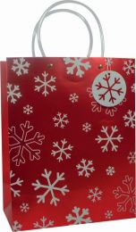 Glitter Gift Bag White Snowflake on Red Large (pack of 6)