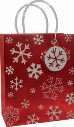 Glitter Gift Bag White Snowflake on Red Medium (pack of 6)