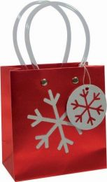 Glitter Gift Bag White Snowflake on Red Small (pack of 6)