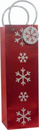 Glitter Gift Bag White Snowflake on Red Bottle (pack of 6)