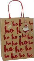 Glitter Gift Bag Kraft Ho Ho Medium (pack of 6)