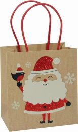 Glitter Gift Bag Kraft Santa Small (pack of 6)