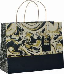 Glitter Gift Bag Deco Marble Gold/Black-Large (pack of 6)