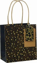 Glitter Gift Bag Random Spots Gold/Black - Small (pack of 6)
