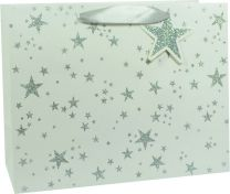 Glitter Gift Bag Scattered Star Silver on White Large (pack of 6)
