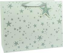 Glitter Gift Bag Scattered Star Silver on White Large (pack of 6)
