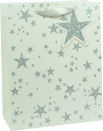 Glitter Gift Bag Scattered Star Silver on White Medium (pack of 6)