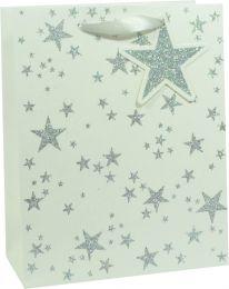 Glitter Gift Bag Scattered Star Silver on White Medium (pack of 6)