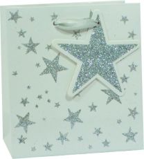Glitter Gift Bag Scattered Star Silver on White Small (pack of 6)