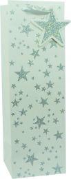 Glitter Gift Bag Scattered Star Silver on White Bottle (pack of 6)