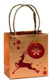 Glitter Gift Bag Brocade Reindeer Small (pack of 6)