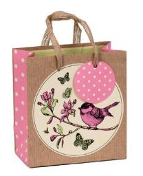 Printed Gift Bag Botanical Bird Small (pack of 6)
