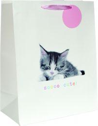 Printed Bag Kitten on White Large Bag (pack of 6)