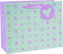 Printed Baby Bag Landscape Medium Baby Pink (pack of 6)