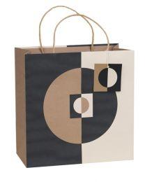 Printed Gift Bag Geo Kraft - Large (Unit of 6)