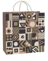 Printed Gift Bag Geo Kraft - Extra Large (Unit of 6)