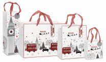 Glitter Christmassy London Scene Gift Bag (select size)