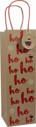 Glitter Gift Bag Kraft Ho Ho Bottle (pack of 6)