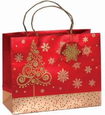 Glitter Gift Bag Brocade Ornate Tree Large (pack of 6)