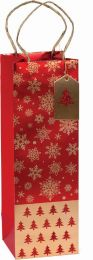 Glitter Gift Bag Brocade Tree & Snowflake Bottle (pack of 6)