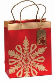 Glitter Gift Bag Brocade Snowflake Medium (pack of 6)