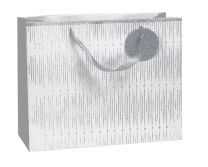 Glitter Gift Bag Icicle Silver on White Large (pack of 6)