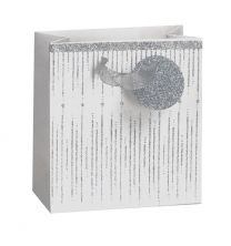 Glitter Gift Bag Icicle Silver on White Small (pack of 6)
