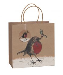 Printed Gift Bag Wild Winter Robin Large (unit of 6)
